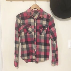 Cotton Candy studded flannel button down shirt M
